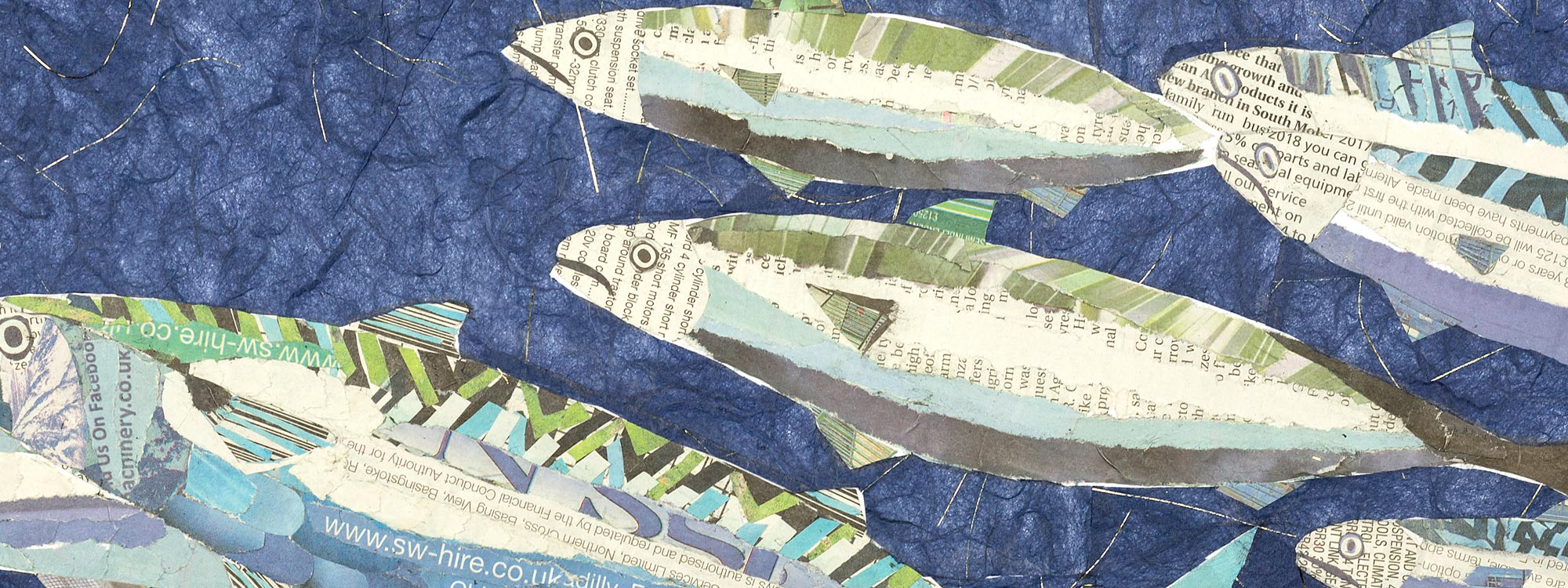 Close up image of an original collage of a mackeral shoal by artist, Annie Hart.